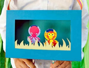 Cereal box puppet theatre for kids