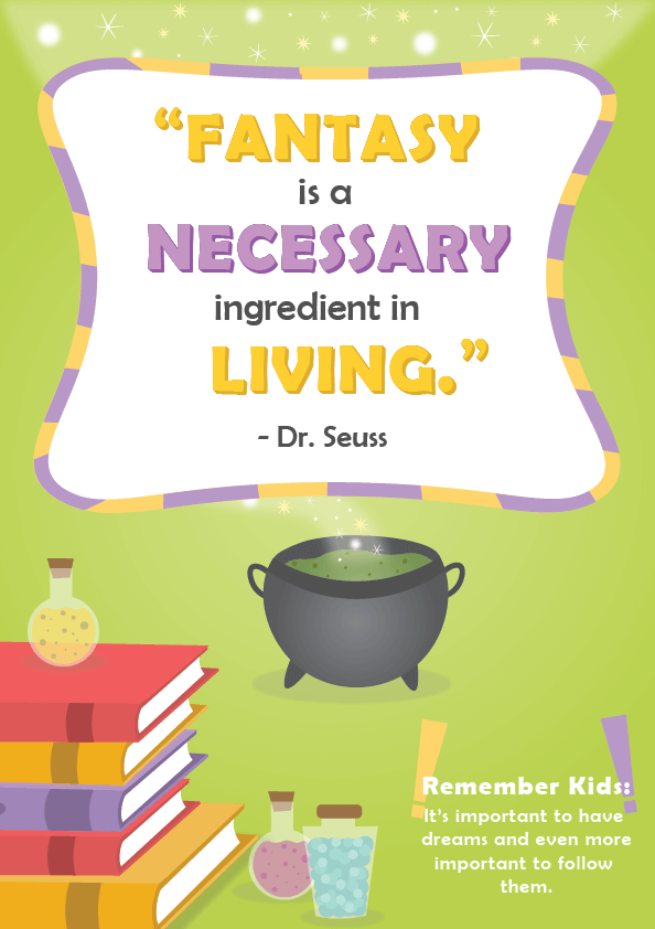 Dr. Seuss Quotes about Reading _ fantasy is a necessary ingredient _ imagine forest