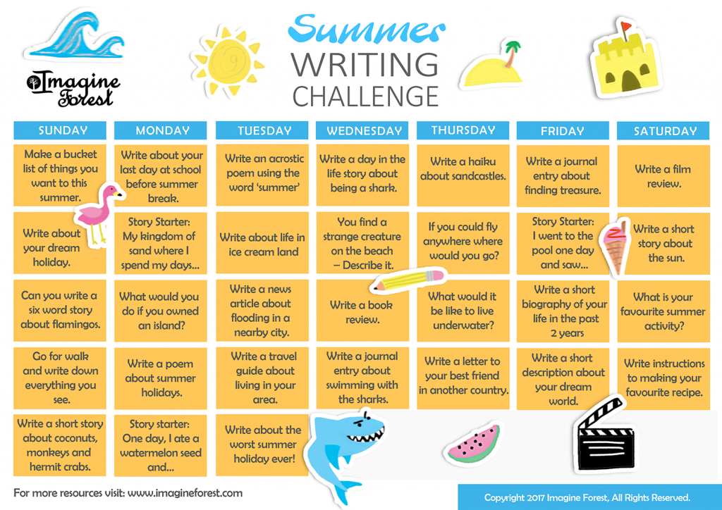 Summer Writing Prompts_Summer Writing Challenge printable by imagine forest