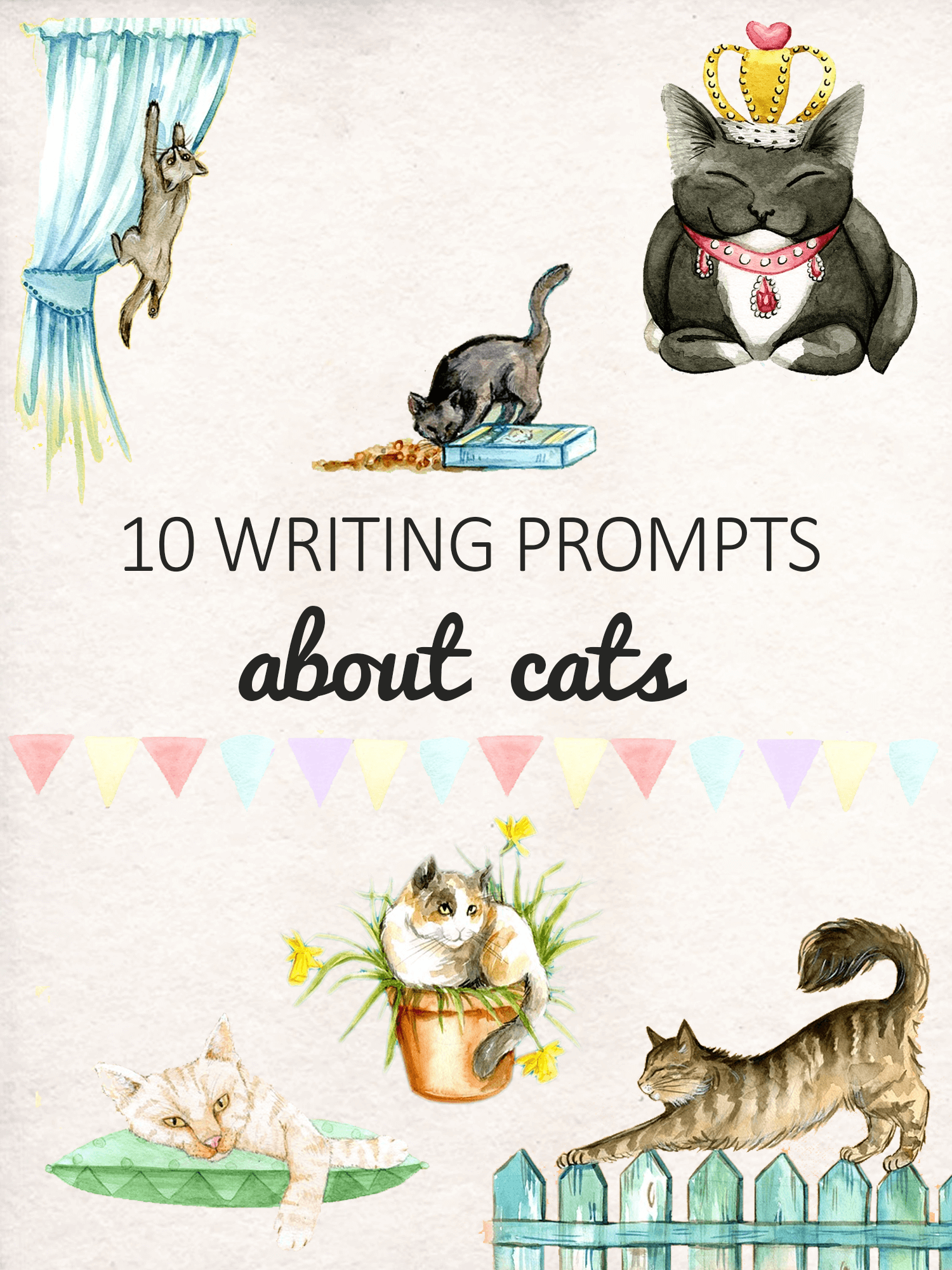 10 Writing Prompts about cats for kids