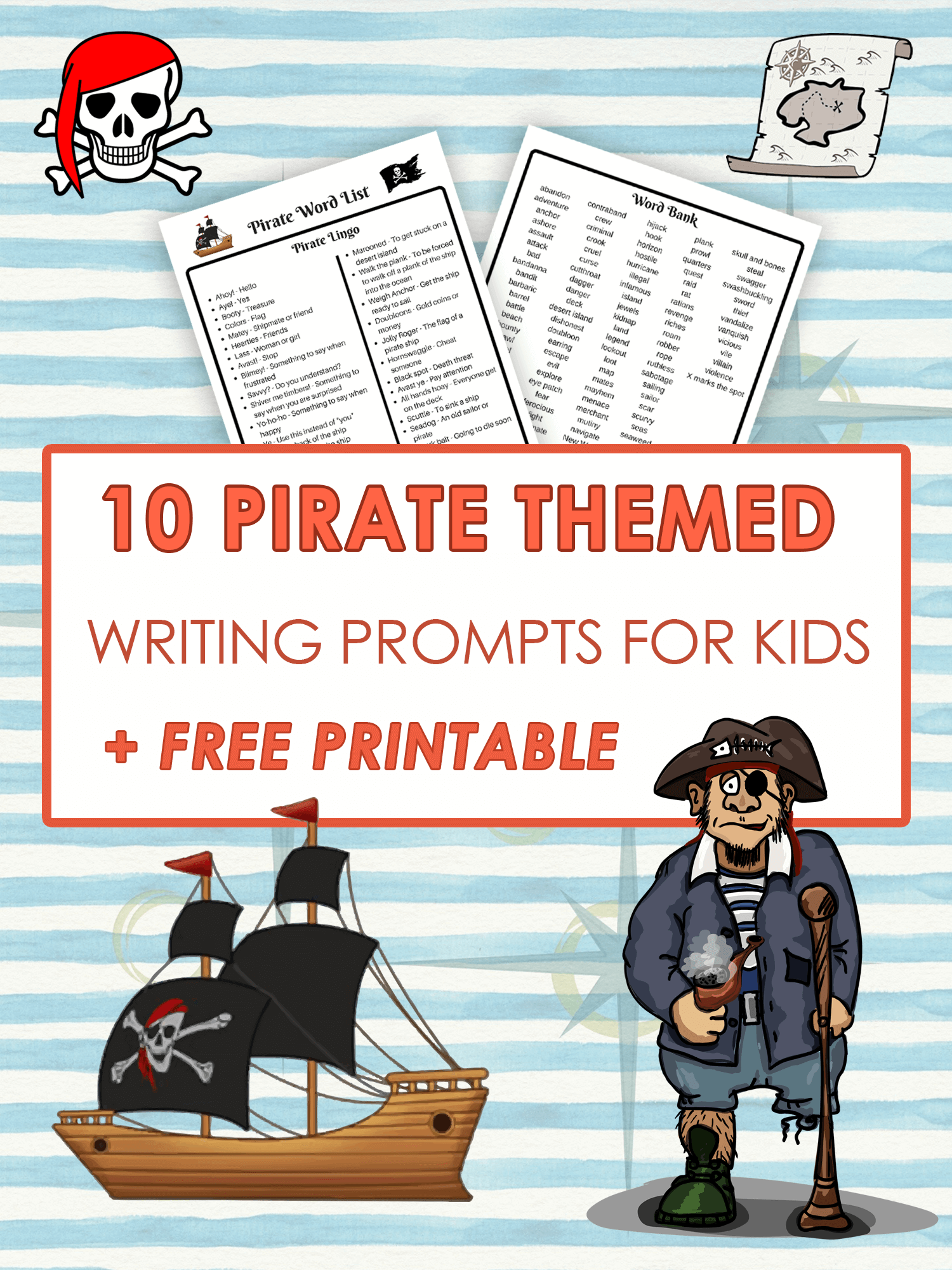 image regarding Pirates Printable Schedule called 10 Pirate Themed Producing prompts for Small children Envision Forest