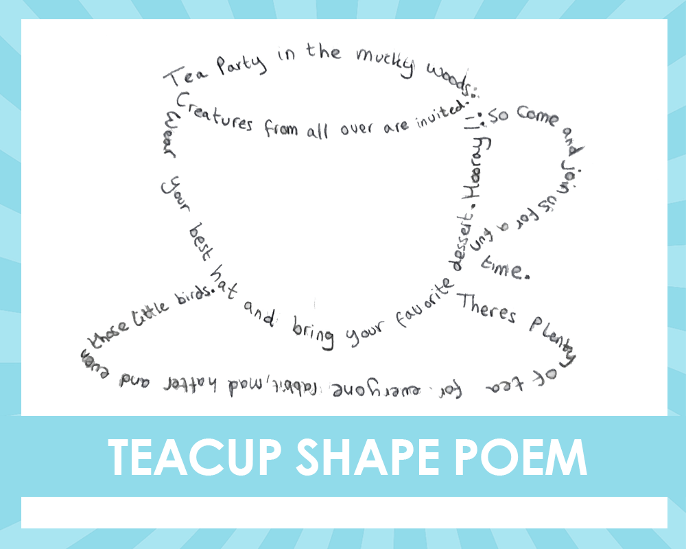 Alice in the wonderland shape poetry writing activity teacup shape poem