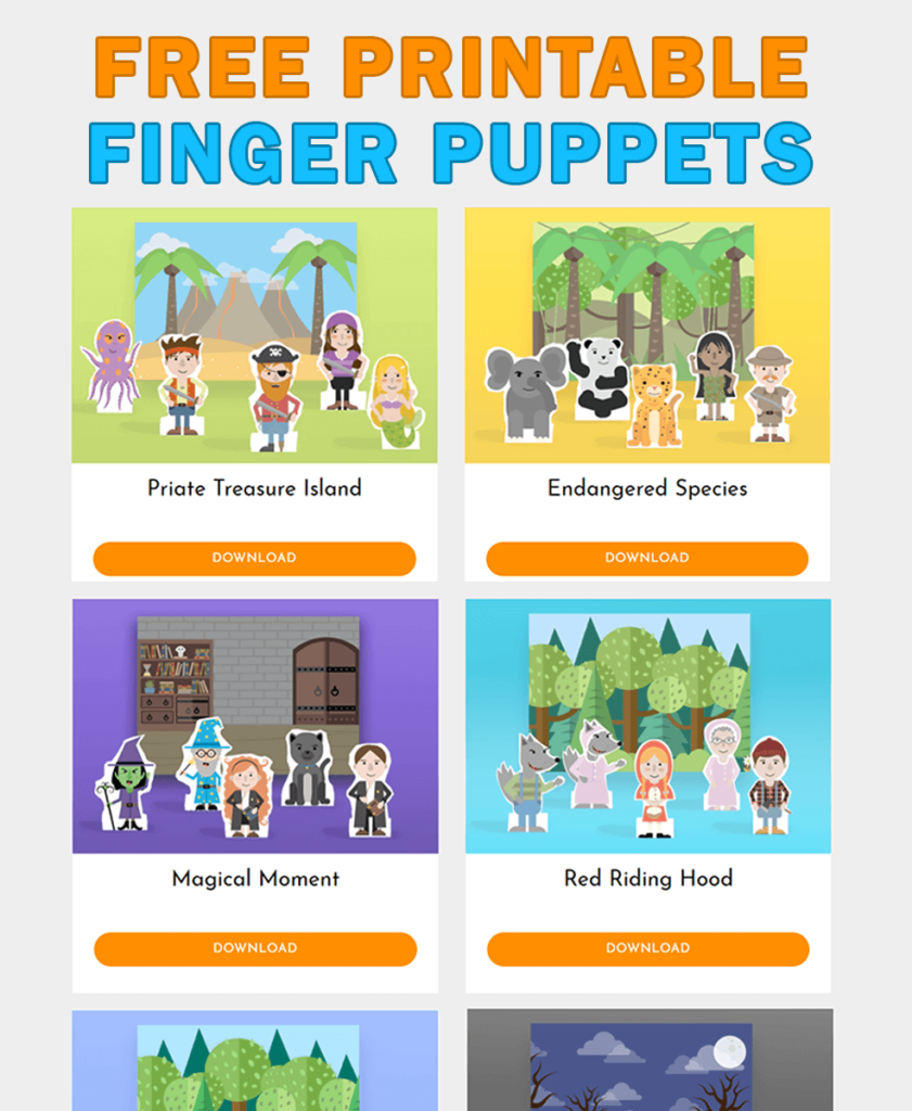free printable paper finger puppets template