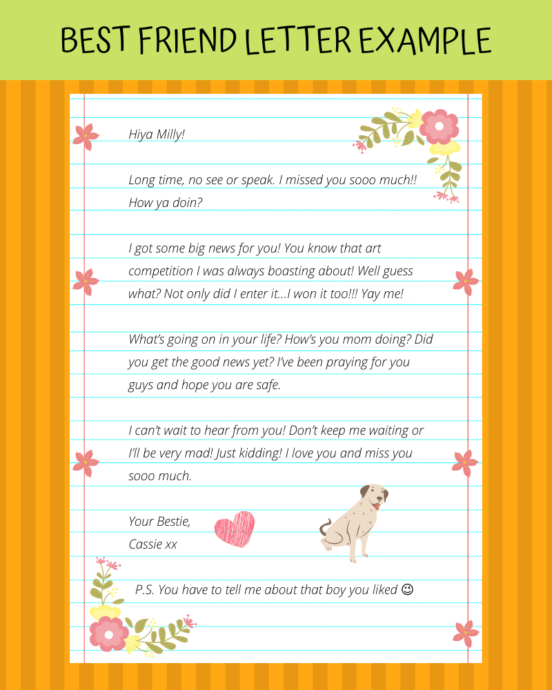 best friend letter template and example