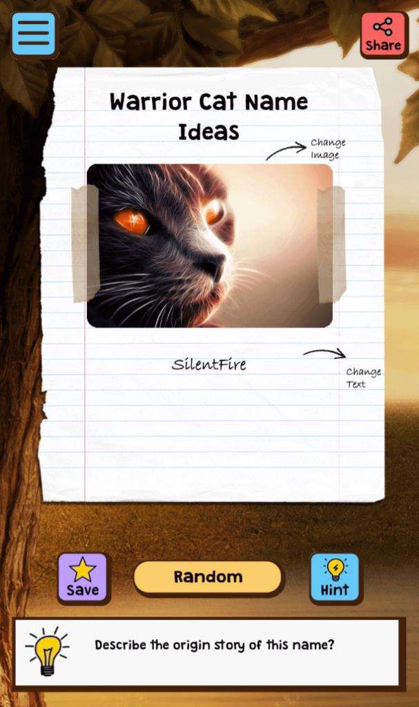 warrior cat name ideas app